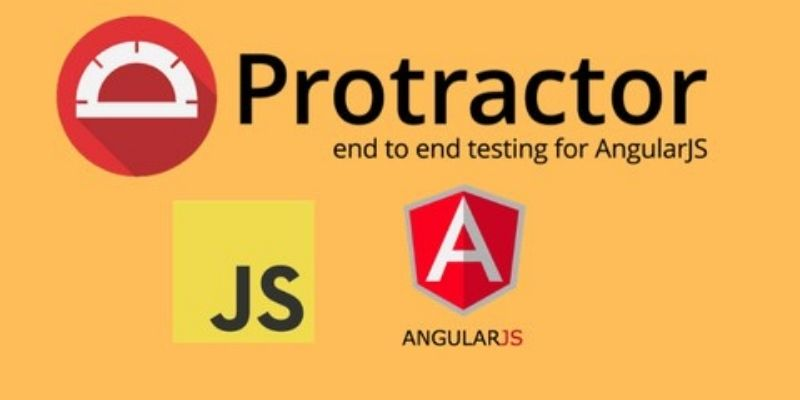 How is the protractor tool used to test the AngularJs Application?